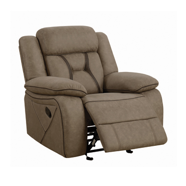 Higgins Overstuffed Upholstered Glider Recliner Tan