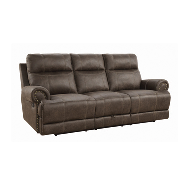 Brixton Upholstered Motion Sofa with Cup Holders Buckskin Brown