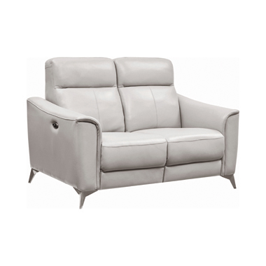 Alberta Upholstered Power Loveseat Light Grey