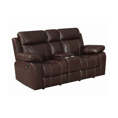 Myleene Glider Loveseat with Console Chestnut
