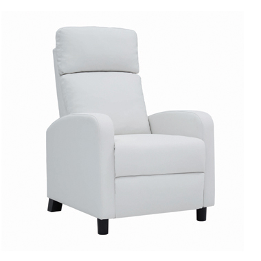 Amelia Upholstered Push Back Recliner White