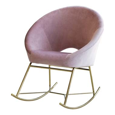 Upholstered Papasan Rocking Chair Rosewood and Brass