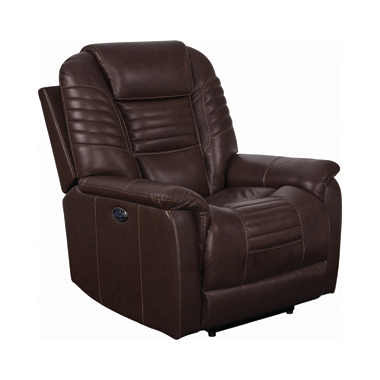 Upholstered Power^3 Recliner with Power Headrest Brown