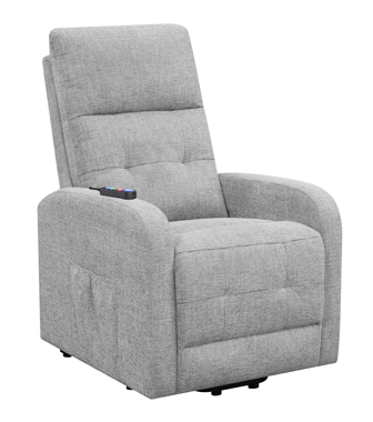 Tufted Upholstered Power Lift Recliner Grey
