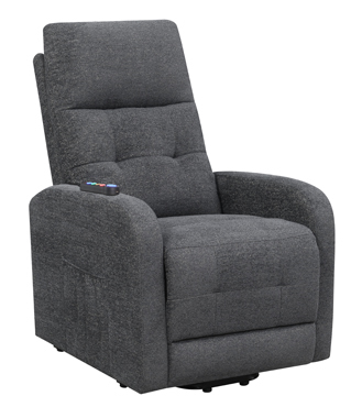 Tufted Upholstered Power Lift Recliner Charcoal