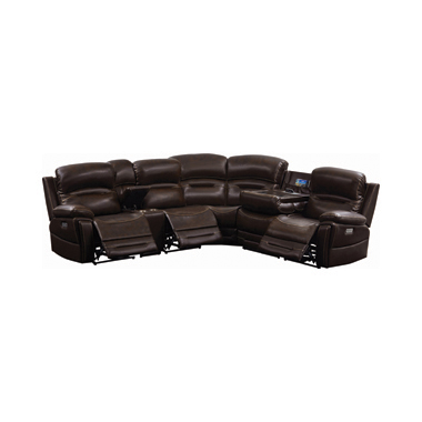 Amanda 6-piece Pillow Top Arms Power^3 Sectional Dark Brown