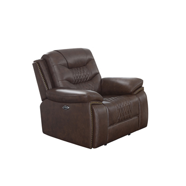 Flamenco Tufted Upholstered Power Recliner Brown