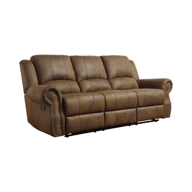 Sir Rawlinson Rolled Arm Motion Sofa with Nailhead Trim Buckskin Brown