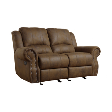 Sir Rawlinson Rolled Arm Glider Loveseat with Nailhead Trim Buckskin Brown