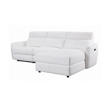 Cecelia Power^2 Sectional with Headrest White