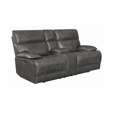 Stanford Cushion Back Power Loveseat Charcoal