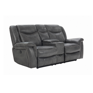 Conrad Upholstered Power Loveseat with Console Grey