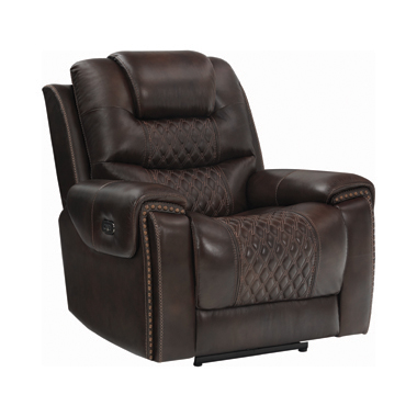 North Cushion Back Power^2 Glider Recliner Dark Brown