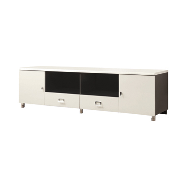 2-drawer TV Console White and Grey