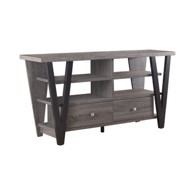 2-drawer TV Console Black and Grey