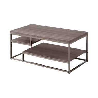 2-shelf Coffee Table Weathered Grey and Black Nickel