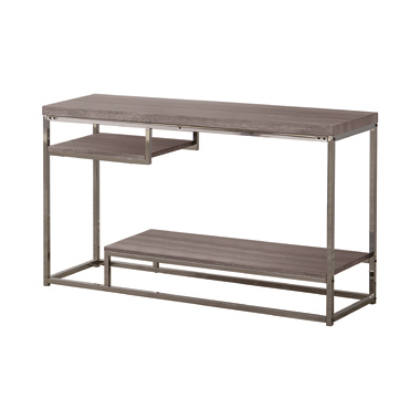 2-shelf Sofa Table Weathered Grey and Black Nickel
