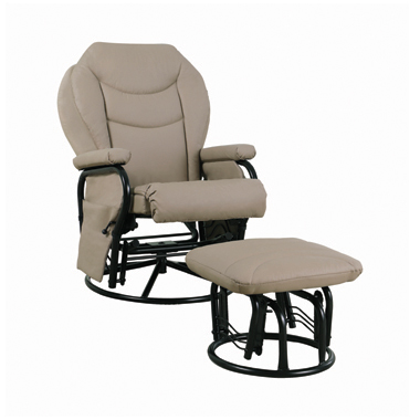 Upholstered Glider Recliner with Ottoman Beige and Black
