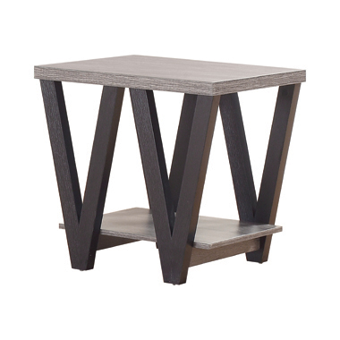 Higgins V-shaped End Table Black and Antique Grey
