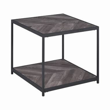 Meagan Chevron End Table Rustic Grey Herringbone