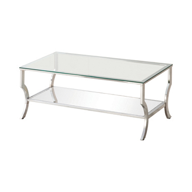 Rectangular Coffee Table with Mirrored Shelf Chrome