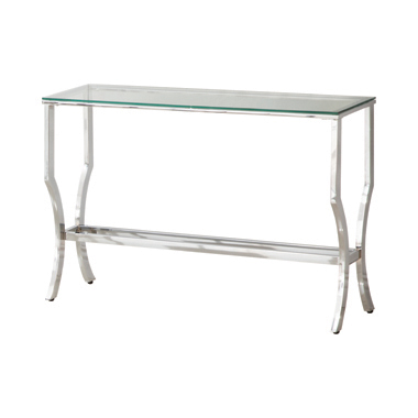 Rectangular Sofa Table with Mirrored Shelf Chrome