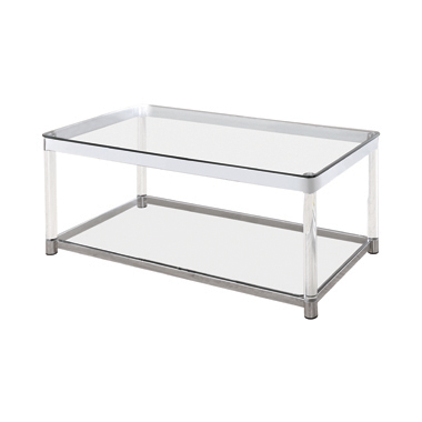Claude Coffee Table with Lower Shelf Chrome and Clear