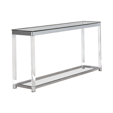Claude Sofa Table with Lower Shelf Chrome and Clear