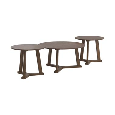 3-piece Round Occasional Table Set Natural Walnut