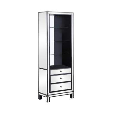 3-drawer Media Tower Black Titanium and Silver