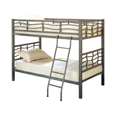 Fairfax Twin over Twin Bunk Bed with Ladder Light Gunmetal