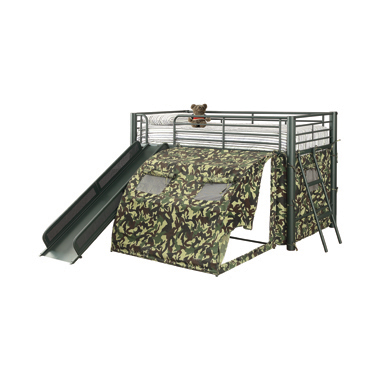 Camouflage Tent Lofted Bed with Lower Playspace Army Green