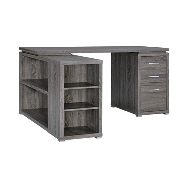 Yvette L-shape Office Desk Weathered Grey