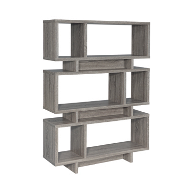 3-tier Geometric Bookcase Weathered Grey