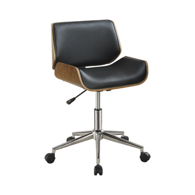 Adjustable Height Office Chair Black and Chrome