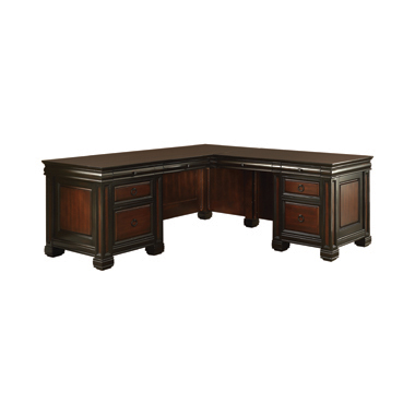 Tate L-shaped Office Desk Espresso and Chestnut