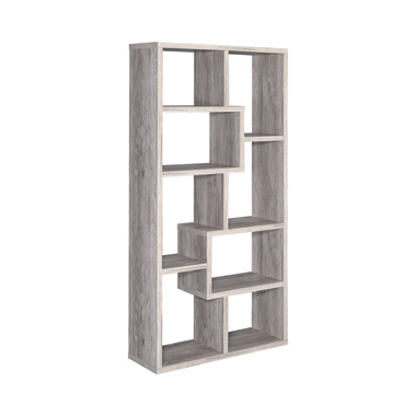 10-shelf Geometric Bookcase Grey Driftwood