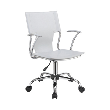 Adjustable Height Office Chair White and Chrome