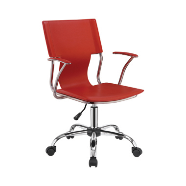 Adjustable Height Office Chair Red and Chrome