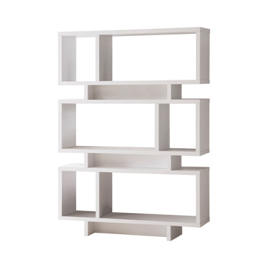 3-tier Geometric Bookcase White