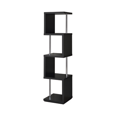 4-shelf Bookcase Black and Chrome