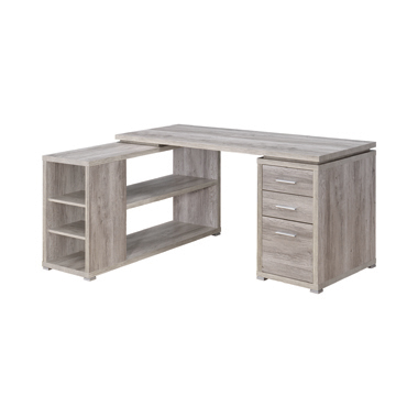 Yvette L-shape Office Desk Grey Driftwood