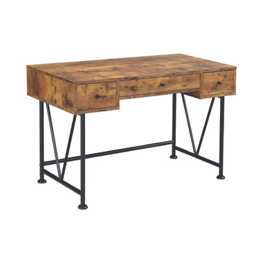 Analiese 3-drawer Writing Desk Antique Nutmeg and Black