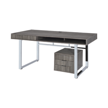 Whitman 4-drawer Writing Desk Weathered Grey