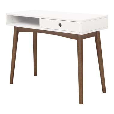 Bradenton 1-drawer Writing Desk White and Walnut