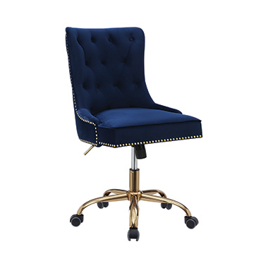 Upholstered Office Chair with Nailhead Blue and Brass