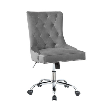 Tufted Back Office Chair Grey and Chrome