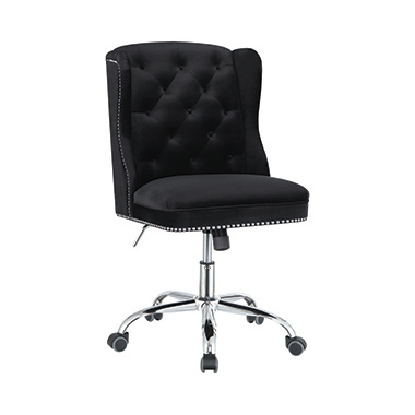 Upholstered Tufted Office Chair Black and Chrome