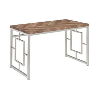 Felsberg Writing Desk Rustic Tobacco Herringbone and Nickel