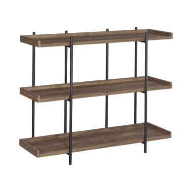 Lawtey 3-shelf Bookcase Aged Walnut